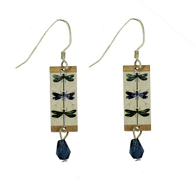 Earrings - 3 Damselflies on Rectangle with Bead on Wires