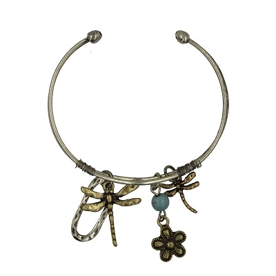 Bracelet - Dragonfly Cuff  Silver and Brass  with Charms