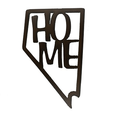 "Nevada iron Sign - ""Home"" within the shape of the State of Nevada"