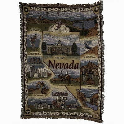 "Nevada Tapestry with Nevada State Outline - 50"" X 60"" Throw"