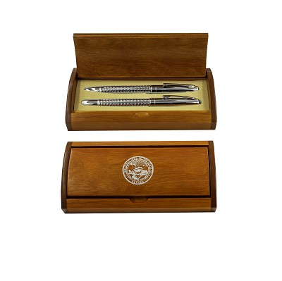 Pen Set - Silver Fill with the Nevada State Seal - Sleek Ball and Roller