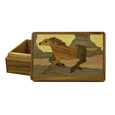 Wooden Box - Medium Horse on Lid