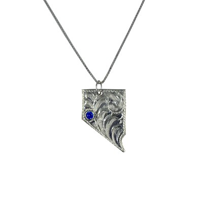 "Pendant - Hand Tooled Silver Nevada State Shaped Pendant wint a Blue Stone on 18"" Silver Small Box Chain"