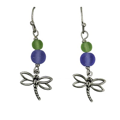 Earrings - Dragonfly - Sea Glass - Dangle