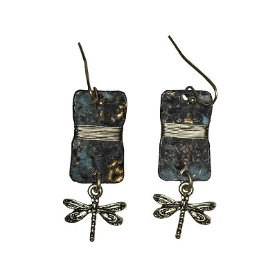Earrings - Dragonfly Wrapped Wire Silver Patina Rectangle