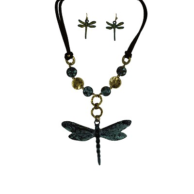 "Necklace and Earrings Set - Patina Dragonfly with Leather and Beads 16"" Cord"