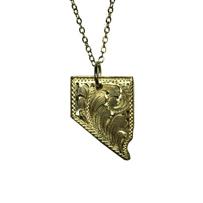 "Pendant - Hand Tooled Gold Filled Nevada State Shaped Pendant on 18"" Gold Chain"