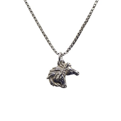 "Necklace - Silver Double Horse Head with 18"" Silver Chain"